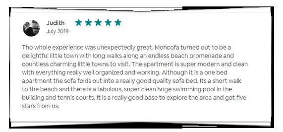Testmonial Judith - AirBnb - Apartment BlueHat Moncofa